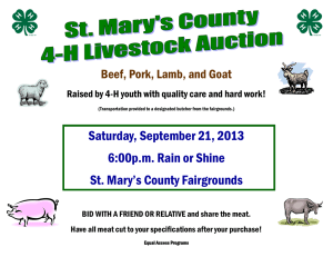 Saturday, September 21, 2013 6:00p.m. Rain or Shine St. Mary's County Fairgrounds