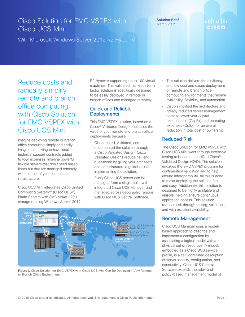 Cisco solution for emc vspex with cisco ucs mini reduce costs and xflitez Gallery