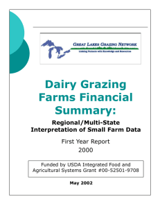 Dairy Grazing Farms Financial Summary: First Year Report
