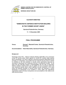 """DEMOCRATIC DEFENCE INSTITUTION BUILDING IN THE FORMER SOVIET UNION"" FINAL PROGRAMME"