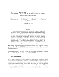 Proximal-ACCPM: a versatile oracle based optimization method F. Babonneau C. Beltran