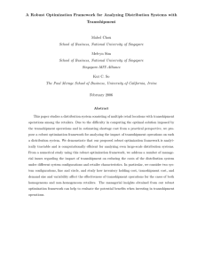 A Robust Optimization Framework for Analyzing Distribution Systems with Transshipment