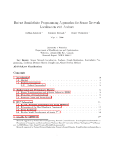 Robust Semidefinite Programming Approaches for Sensor Network Localization with Anchors Nathan Krislock