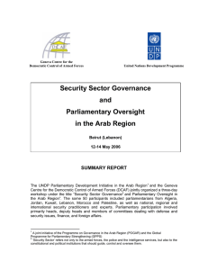 Security Sector Governance and Parliamentary Oversight in the Arab Region