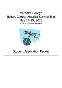 Meredith College Belize, Central America Service Trip May 17-25, 2015