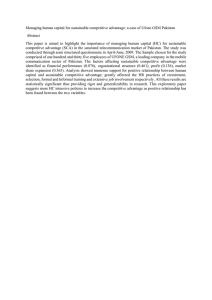 Managing human capital for sustainable competitive advantage: a case of... Abstract This  paper  is  aimed  to ...