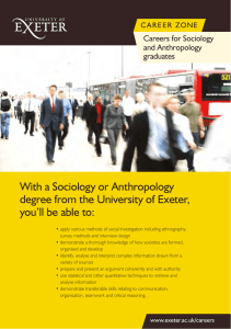 With a Sociology or Anthropology degree from the University of Exeter,