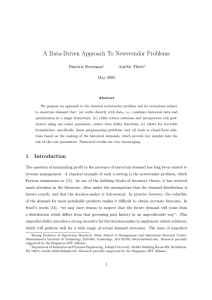 A Data-Driven Approach To Newsvendor Problems Dimitris Bertsimas Aur´elie Thiele May 2005