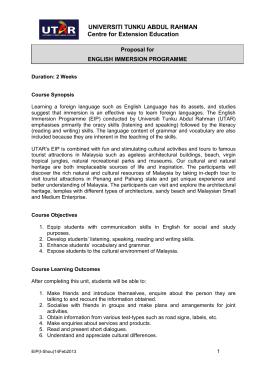 General information on utar industrial training programme universiti tunku abdul rahman proposal for english immersion programme spiritdancerdesigns Gallery