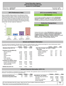 Texas Education Agency 2014-15 School Report Card DAVIS H S (101912003)