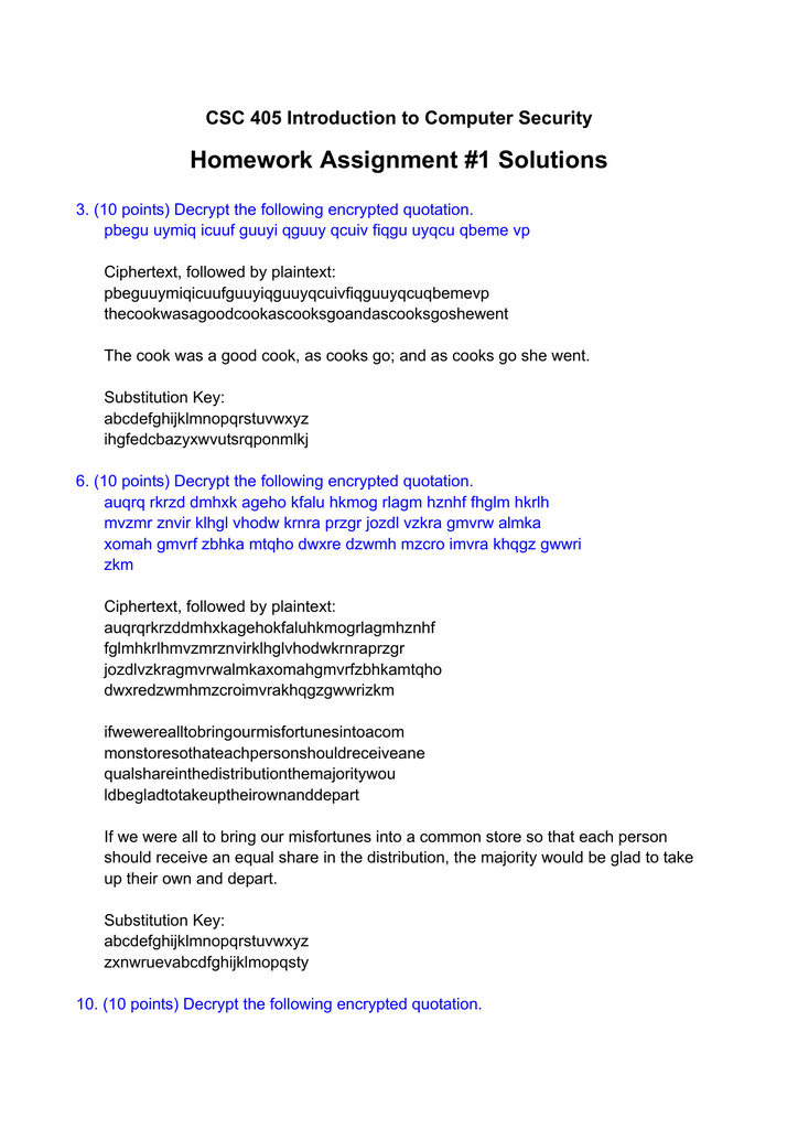 Homework Assignment #1 Solutions CSC 405 Introduction to