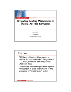 Mitigating Routing Misbehavior in Mobile Ad-Hoc Networks Overview