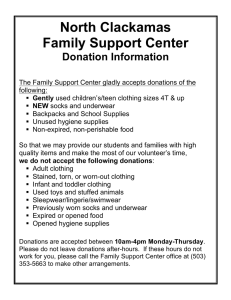 North Clackamas Family Support Center Donation Information