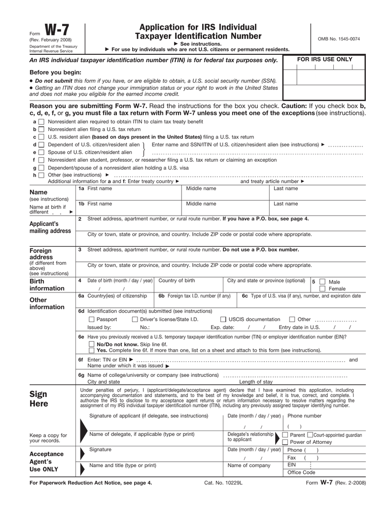 W-7 Application for IRS Individual Taxpayer Identification Number