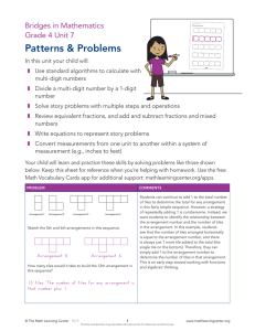 Patterns & Problems Bridges in Mathematics Grade 4 Unit 7