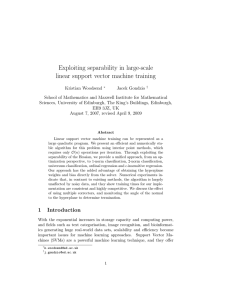 Exploiting separability in large-scale linear support vector machine training