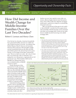 How Did Income and Opportunity and Ownership Facts An Urban Institute Project Exploring