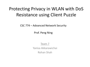 Protecting privacy in WLAN with DoS resistance using client puzzle
