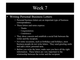 Week 7 • Writing Personal Business Letters