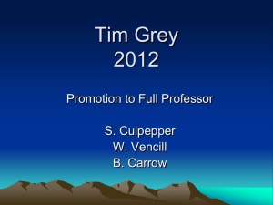 Tim Grey 2012 Promotion to Full Professor S. Culpepper