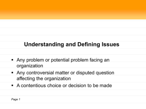 Understanding and Defining Issues