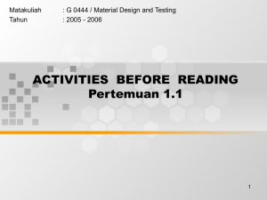 ACTIVITIES  BEFORE  READING Pertemuan 1.1 Matakuliah