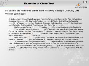 Example of Cloze Test One Word in Each Space.
