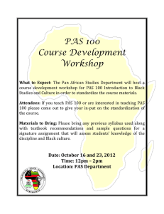 PAS 100 Course Development Workshop