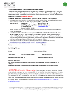 2016 Junior/Intermediate Runway Show Registration Form
