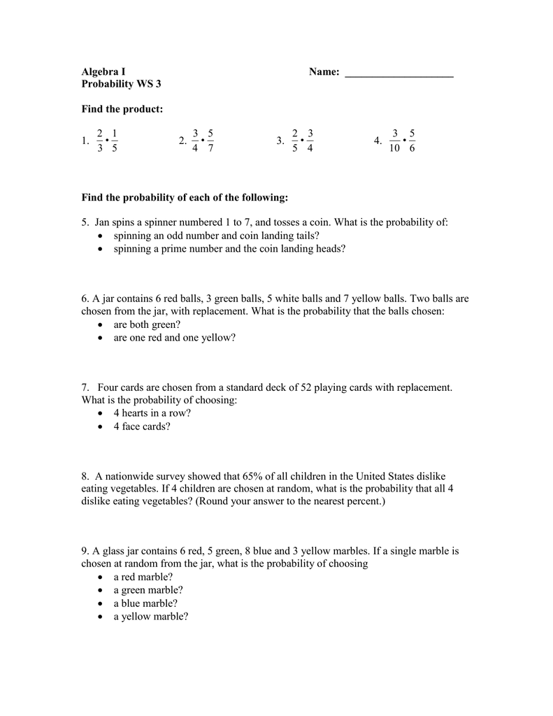 Uncategorized Theoretical And Experimental Probability Worksheet h 2s 3 compound probability