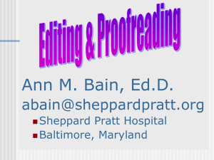 Ann M. Bain, Ed.D.  Sheppard Pratt Hospital Baltimore, Maryland