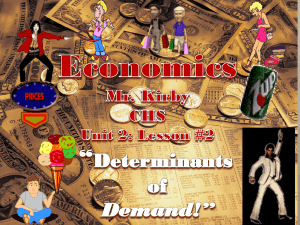 Lesson 2: Determinants of Demand