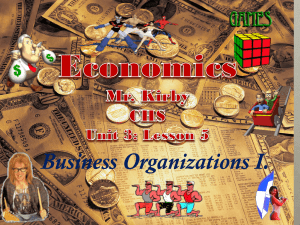 Business Organizations Lesson #1
