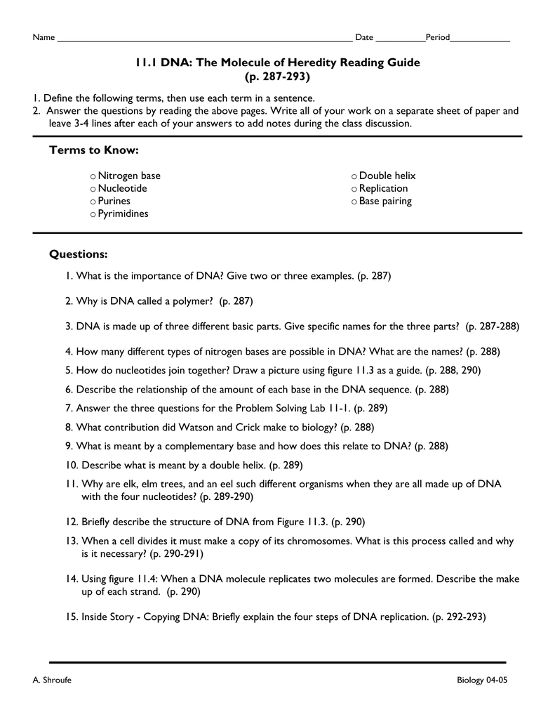 Dna And Genes Worksheet Answer