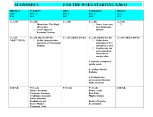 ECONOMICS  FOR THE WEEK STARTING 9/30/13
