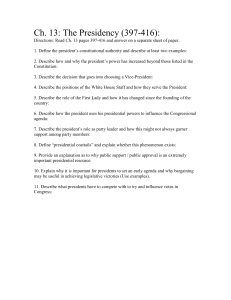 Chapter 13 Questions -The Presidency