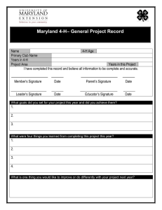 General Project Record Sheet
