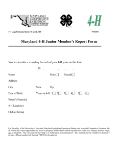 Maryland 4-H Junior Member's Report Form