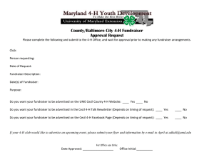 County/Baltimore City 4-H Fundraiser Approval Request