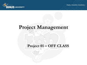Project Management Project 01 – OFF CLASS