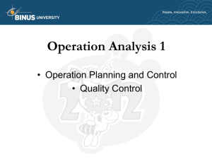 Operation Analysis 1 • Operation Planning and Control • Quality Control