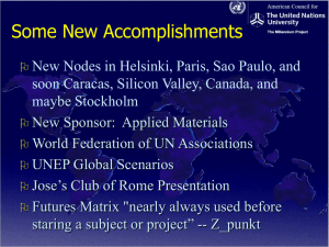 Acknowledgements of the Millennium Project