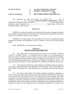 Child Care Services Agreement Form