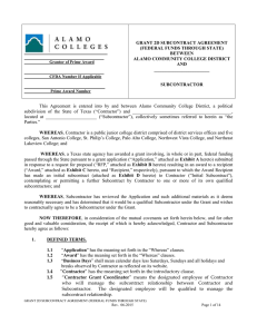 Grant 2D Subcontract Federal Funds Through State Agreement Form