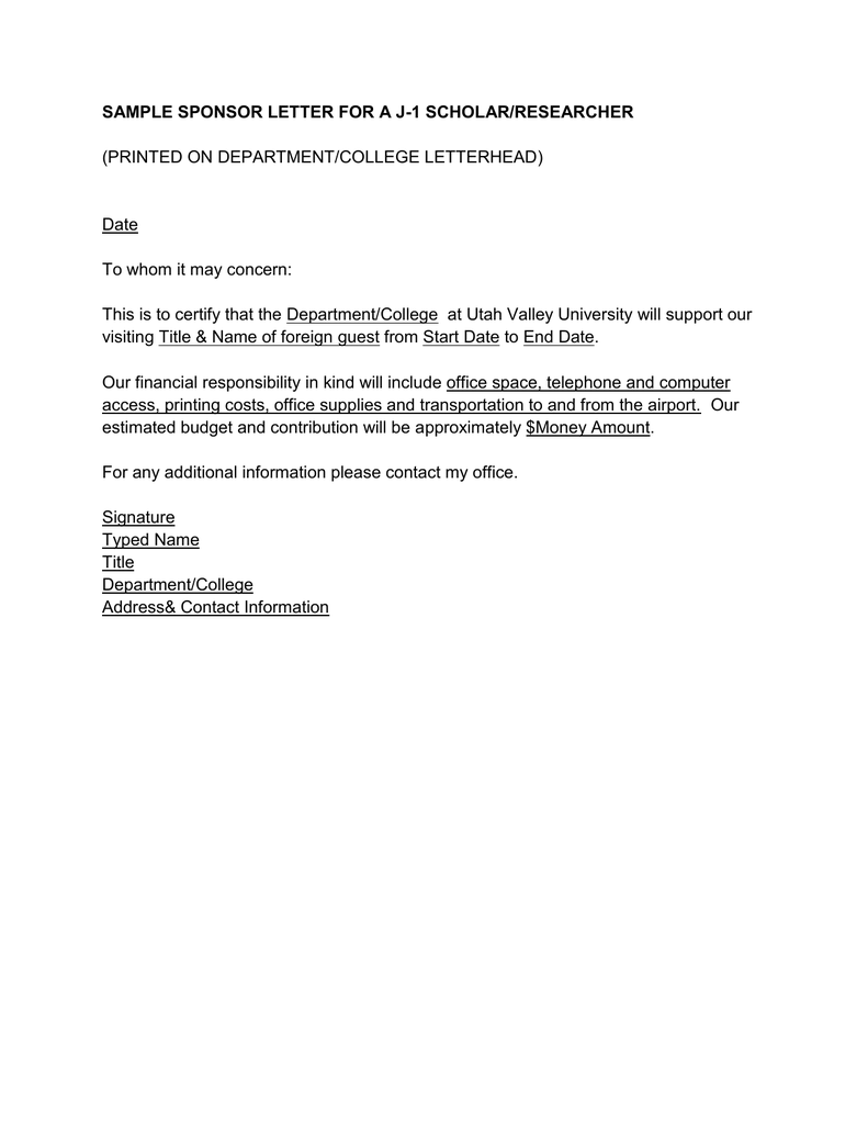 Sample Sponsor Letter For A J 1 Scholar Researcher Printed On