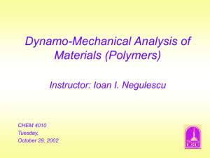 Dynamo-Mechanical Analysis of Materials (Polymers) Instructor: Ioan I. Negulescu CHEM 4010