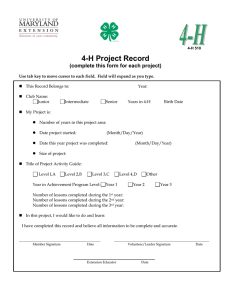 4-H Project Record (complete this form for each project)