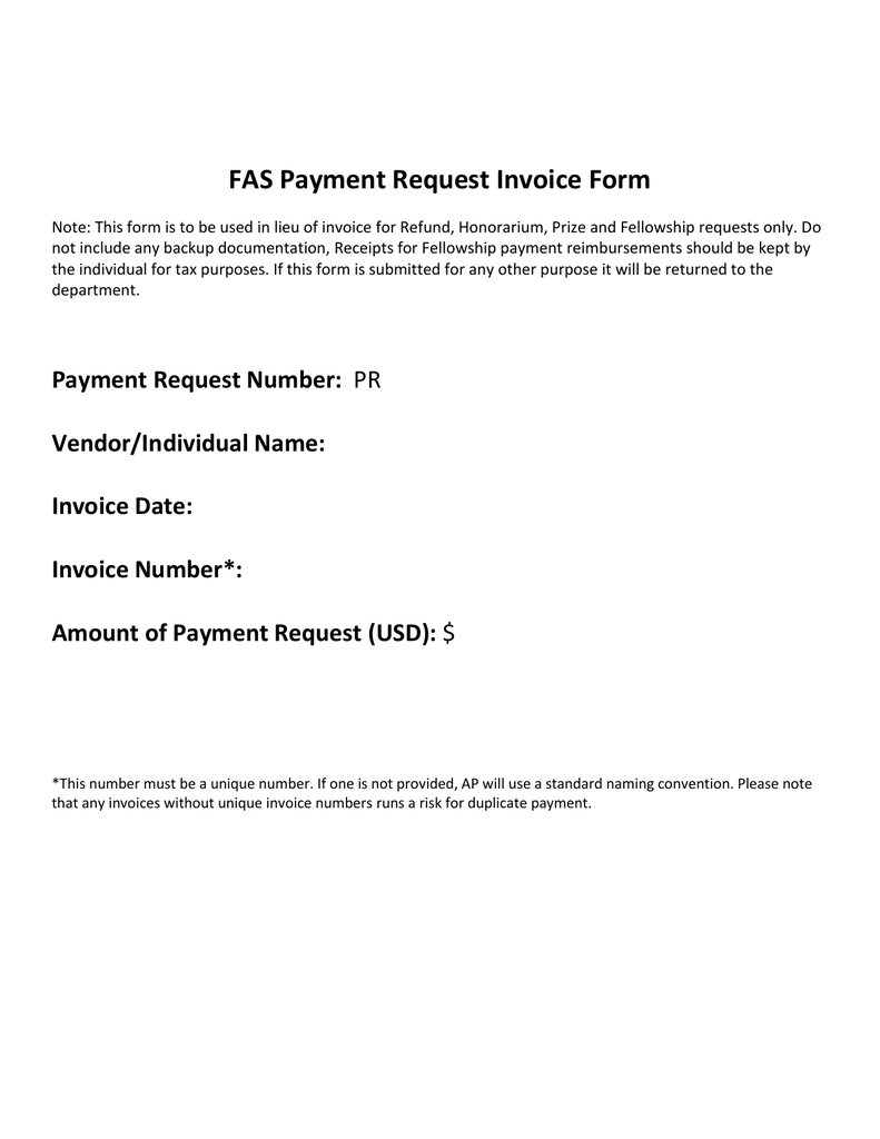 Fas Payment Request Invoice Form
