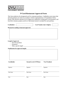 P-Card Restaurant Approval Form