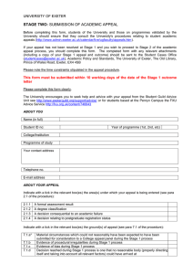 Academic Appeals Form Stage 2